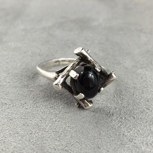 Vintage 60s Sterling Silver Onyx Ring